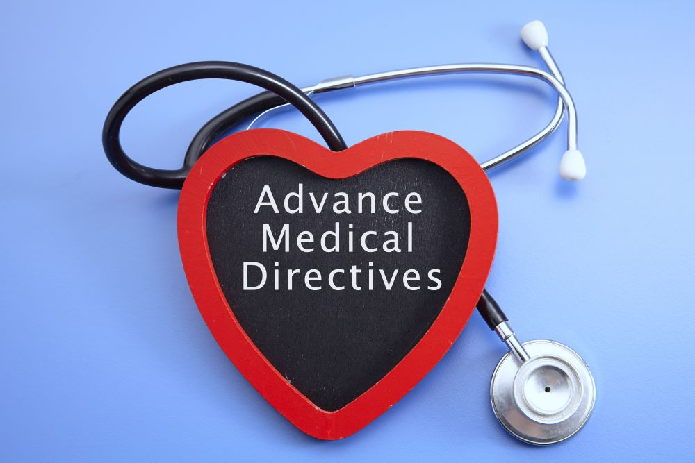 Advance Medical Directives graphic with heart and stethoscope