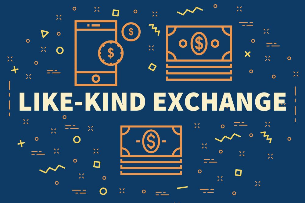 Like-Kind Exchange - Blue graphic with icons of money.