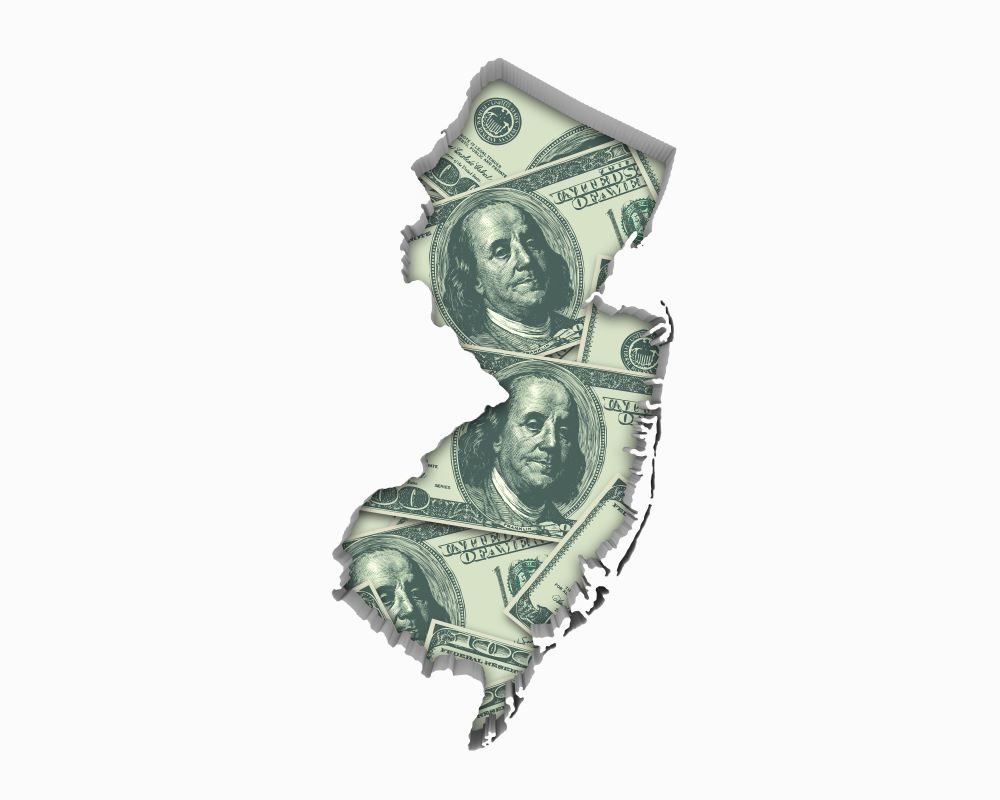 Graphic showing outline of New Jersey filled in with $100 bills.
