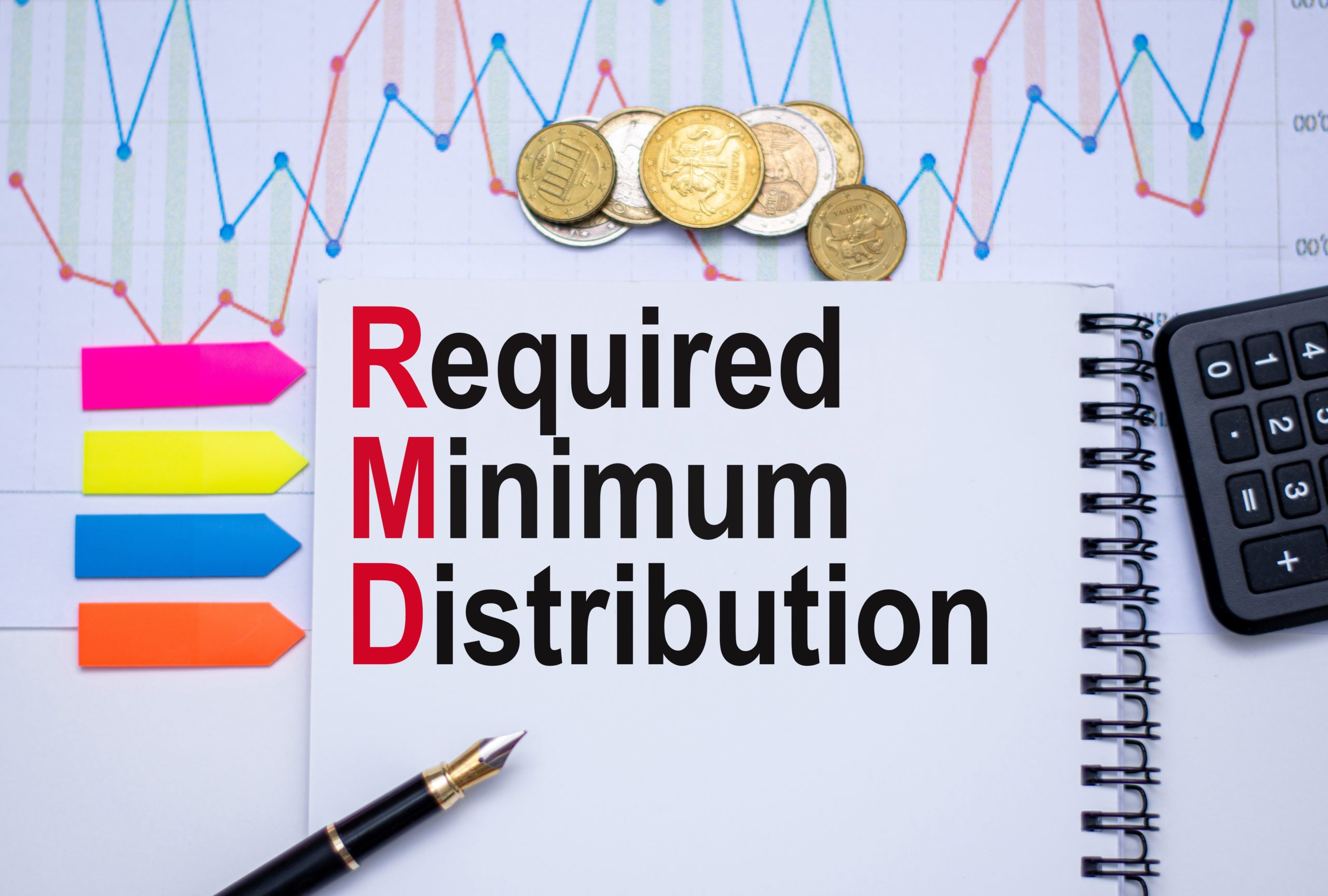 Required Minimum Distribution graphic with currency, graph and calculator.